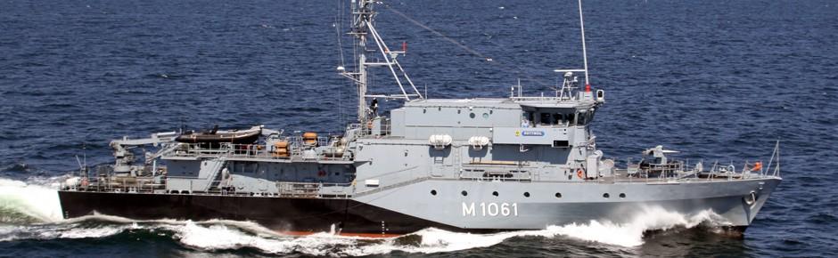 Minenjagdboote der deutschen Marine außer Gefecht