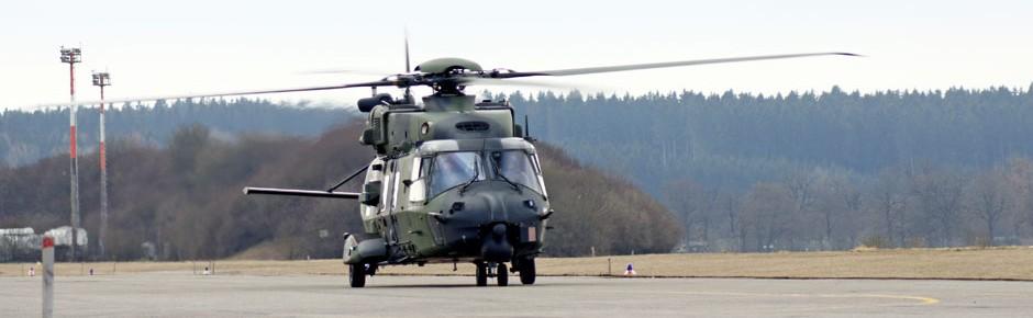 Erste Inspektion eines NH90 bei RUAG in Oberpfaffenhofen